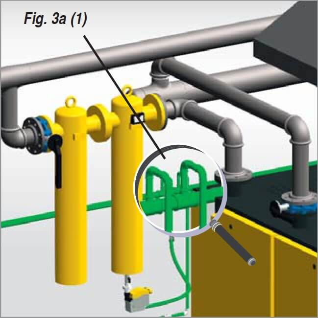 Connection of refrigeration dryer and condensate drain