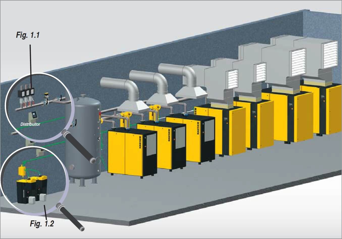 Compressed air station with collecting duct
